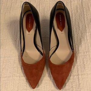 ZARA 38 rust suede/black snake 3 1/2 heels